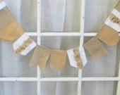 fabric bunting // 8 feet // white with burlap ruffles, beige with white polka dots, and burlap