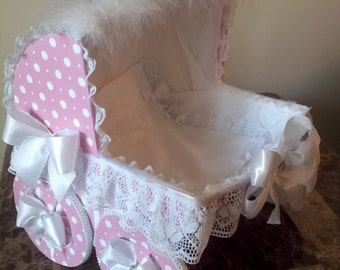 The Callie Pink And White Polka Dot Baby Carriage / Baby Shower Decor / Pink Baby Carriage / Baby Carriage