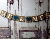 Wedding Banner-Wedding Sign-MR & MRS Garland Sign-Car sign-Rustic decor-Engagement Party Decorations-