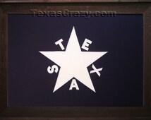 Dark Barnwood Framed 2 x 3 foot Republic of Texas flag