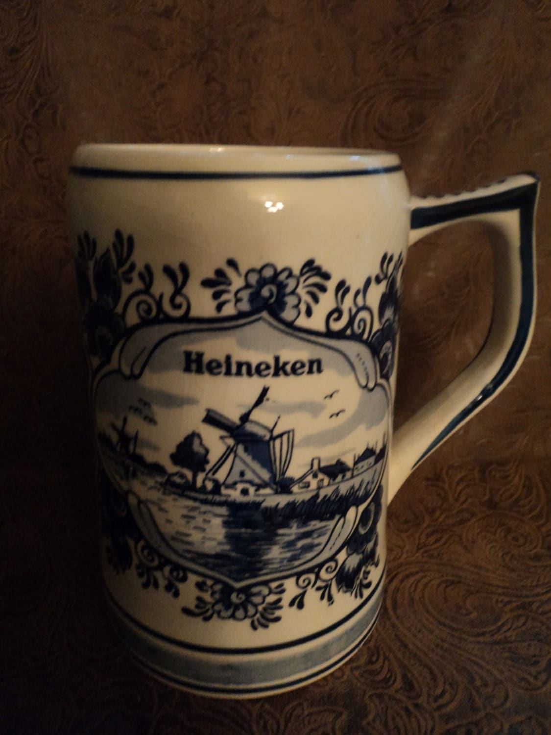 Vintage Heineken Hand Painted Delft Blue Ceramic Beer Mug Made