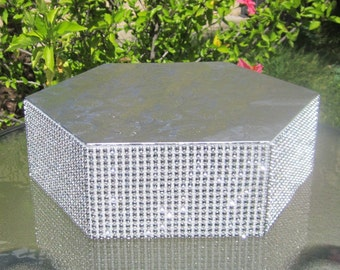 "12""- 20"" Hexagonal Wedding Cake Stand/Riser, Rhinestone Mesh shines like real Diamonds, Foil cake board on top, 4"" tall Styrofoam, 12 colors"