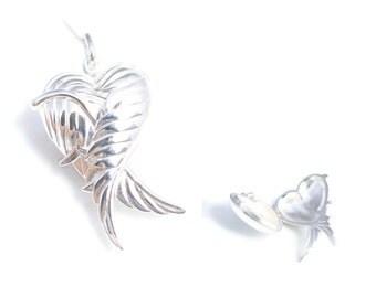 Sterling Silver Angel Wing Heart Locket - Pendant with Sterling Silver Chain - Love Heart Locket