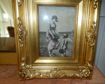 ANTIQUE PRINT of WOMAN with Boy Angel at the Beach