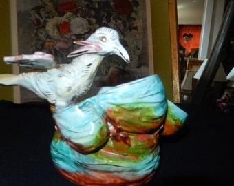 MAJOLICA STYLE BIRD Planter or Vase