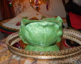 GREEN CABBAGE BOWL Art Pottery