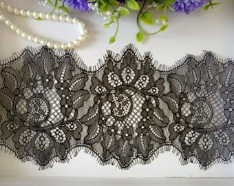 3 Yards Floral Embroidery Black / Off White Eyelash Lace Trim Width 4.7''(12cm)