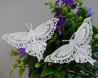 2 PCS Sew On Water Soluble Cotton Venice Lace Ivory Butterfly Appliques