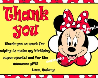 Minnie mouse thank you card, Minnie mouse birthday card, Minnie thank you card - Digital file