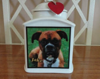 "Dog Urn, Memorial, Pet Urn, ""Personalized"", Cat, Pet, Photo Urn, Add Photo, Poem, Clipart, Name, Dates, Sentiment"