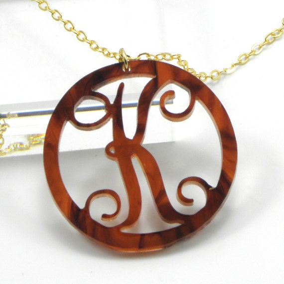 Items similar to tortoise shell initial necklace acrylic for Acrylic letter necklace