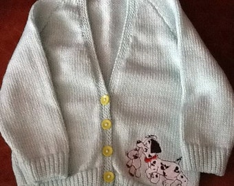 Hand knitted baby cardigan with 101 Dalmatians embroidery