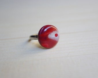 Red, purple & white pearl polymer clay ring