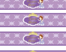 Sofia The First Birthday water bottle Wrappers Instant Download! Printable JPEG 300 dpi Printable DIY purple Princess Party Disney