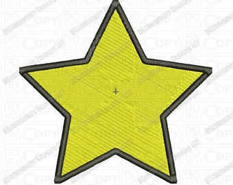 Basic Yellow Star Embroidery Design in 2x2 3x3 4x4 and 5x7 Sizes