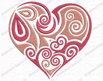 Heart Tribal Valentine Embroidery Design in 2x2 3x3 4x4 and 5x7 Sizes