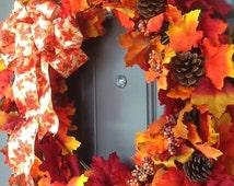 Classic fall wreath, Fall front door wreath, fall leaves wreath