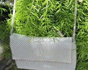Silver shiny beaded formal purse