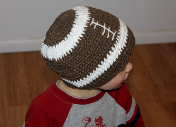 Crochet Baby Football Helmet Hat Pattern : Items similar to PATTERN Crochet Football Beanie Hat All ...