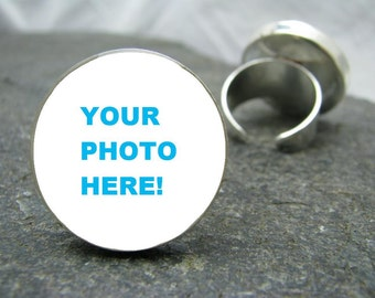 Custom Photo Ring - adjustable ring, personalized ring, picture ring, custom ring