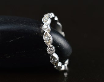Marquise and Dot Diamond Eternity Band in 14k White Gold with Milgrain, 0.33ctw, 2.8mm Wide, E-F Color, VS Clarity, Full Eternity, Natalie