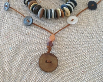 Hand made Vintage Button Necklace and Bracelet