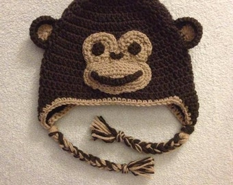 Crochet Monkey Animal Ear Flap Hat for Newborn Baby Toddler and Child Boy or Girl