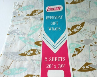 Cascade Gift Wraps Best Wishes Happiness For You Umbrellas Mint and Gold and Silver Gift Wrap 2 Sheets