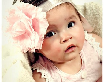 Baby Pink Flower with Satin Headband