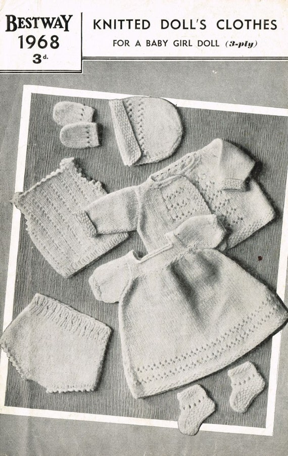 Knitting Patterns For Baby Dolls Clothes Old Style : Bestway 1968 baby girl dolls clothes vintage knitting pattern