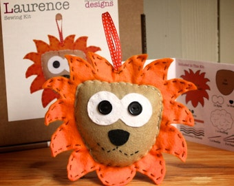 Sewing Kit - Laurence the Lion handmade felt sewing kit (includes everything you need, no fabric cutting required) Made in the UK *SALE*