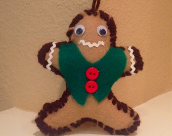 Gingerbread Man Christmas Holiday Ornament--Brown
