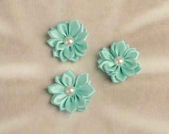 SALE! 3 Small Teal Multi-Layer Satin Flowers, Wholesale Flowers, Satin Flower, Layer Flower, Mini Flower, Fabric Flower, Daisy Flowers