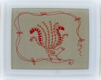 Redwork Lyrebird hand embroidery pattern. PDF