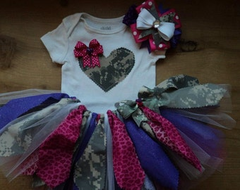 Pink and Purple Army ACU Camo Scrap Fabric Tutu Outfit