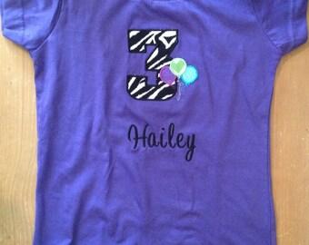 Purple Zebra Birthday Shirt or Baby Bodysuit