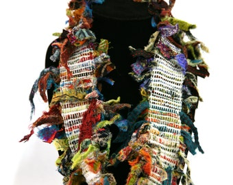 Handwoven multi-fiber infinity scarf/necklace_HW028