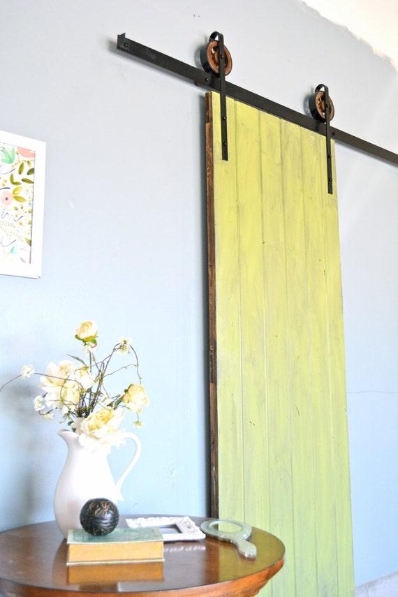 black 6 8 ft rustic sliding barn door closet by thewhiteshanty. Black Bedroom Furniture Sets. Home Design Ideas