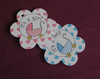 Its a Girl Tag - Its a Boy Tag Baby Shower Favor Tags - Baby Carriage Stroller Pram Figure I - Favor Tags - Set of 30 of Paper Tags