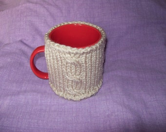 Mug cosy. Mug sweater. Mug cozy. Mug hug. Mug warmer. Chunky knit. Cable detail. STONE, Tudor ROSE, GROUSE, Taupe. Mug not included.
