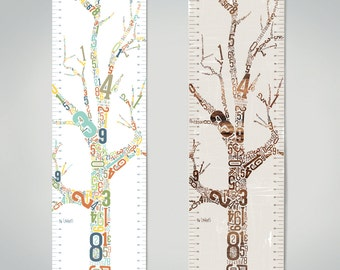 Growth Chart - Growing Tree - Canvas - children's wall art - modern