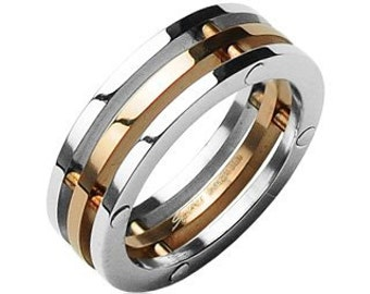 Stainless Steel 3 Connected Piece Ring, Rose Gold Center