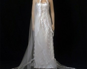 "1T White Cathedral Mantilla Veil, Veil, Veils,Cathedral 108""X109"" Hand Beaded Lace Edge Veil"