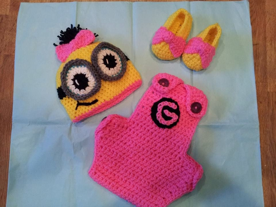 Crochet Patterns For Baby Overalls : Crochet baby Minion Outfit. by HavocMayhemCreations on Etsy