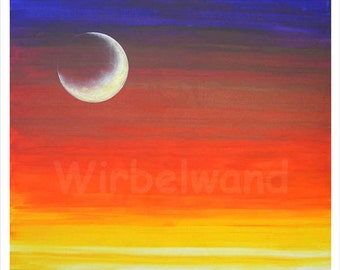 Print of an acrylic painting - Fiery Moon (28 x 24 inch) Original colours