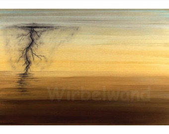 Print of an acrylic painting - Thunder and Lightning at the Sea (17 x 12 inch) Colour variation inversion