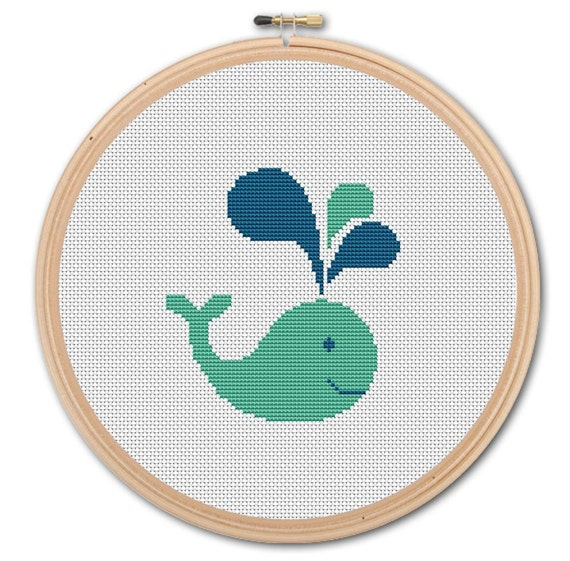Items similar to funny whale counted cross stitch