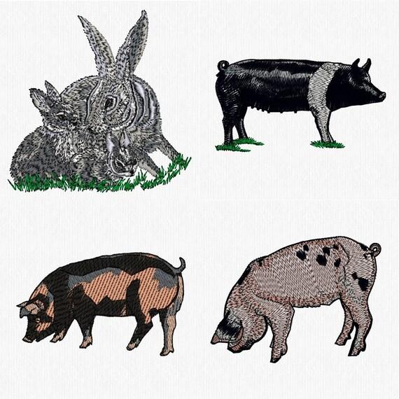 Farm animals machine embroidery designs