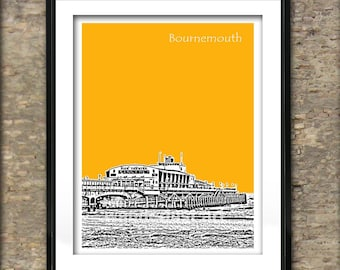 Bournemouth Art Print Poster A4 Size Bournemouth Pier Seaside England