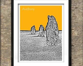 Avebury Art Print Skyline Poster A4 Size Stone Circle Wiltshire England